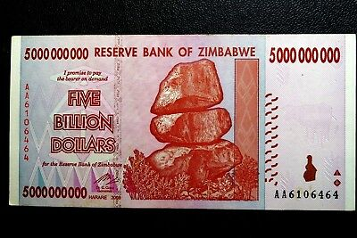 "Zimbabwe ""Good Used"" Five Billion Dollars Banknote ~ Buy It Now Only £1.99"