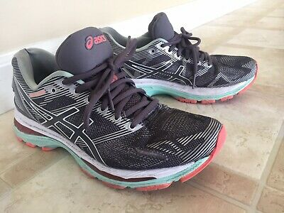 best service 829f9 ac8c6 ASICS GEL-NIMBUS 19 Shadow Grey-Mint-Coral Running Shoes T750N Womens Size  7 M