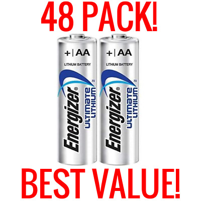 48 New Energizer Ultimate Lithium Aa Batteries 1.5V Bulk Wholesale Boxes Fresh