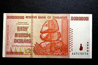 "Zimbabwe ""Good Used"" Fifty Billion Dollars Banknote ~ Buy It Now Only £1.99"