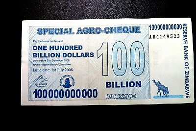 "Zimbabwe ""Used"" $100,000,000,000 One Hundred Billion Dollars ~ Buy It Now £1.99"