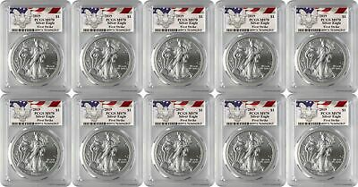 2019 $1 American Silver Eagle PCGS MS70 First Strike - Eagle Label Lot of 10