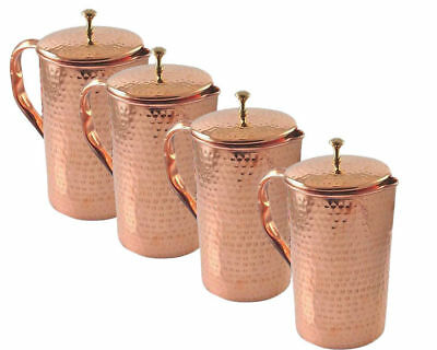 4 Pc Pure Copper Hammered Jug Set Drinking Water Ayurveda Heath Treatment