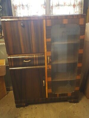 Art Deco Antique Drop Front Desk Bookcase Restored