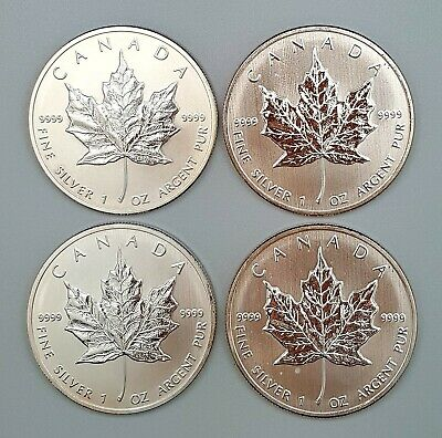 4 x Canada 1 Once d'argent pur 9999 / 4 x 2013 Maple Leaf 1 Oz fine Silver 9999