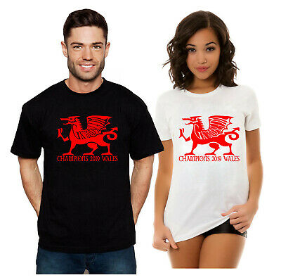 Wales Six Nations 2019 Grand Slam Winners Small Dragon Ringer Mens Rugby T-Shirt