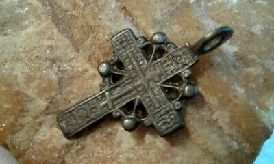 "RARE ANTIQUE 18-19th CENTURY SMALL ORTHODOX ""OLD BELIEVERS"" ORNATE ""SUN"" CROSS"