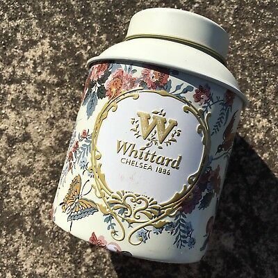 """WHITTARD """"White"""" Beautiful Collectable Tea Tin Metal Storage Canister"""