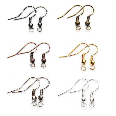 8 Colors 100pcs / lot Fashion Iron Ear Hook Wire Clasp With Bead Charms, Earring