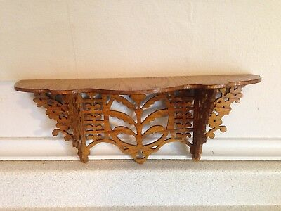 Small Vintage Hand Craved Wooden Whatnot Wall Shelf