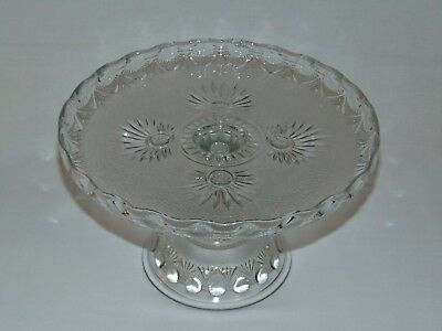 Antique Victorian Early Canadian Pressed Glass Cake Stand Nova Scotia Nugget