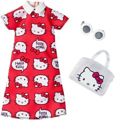 Barbie doll red clothes Hello Kitty dress accessories fashion set JAPAN