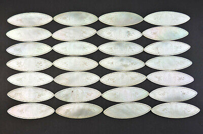 28 x ANTIQUE 19thC CHINESE MOTHER OF PEARL CARVED LARGE OVAL GAMING COUNTERS