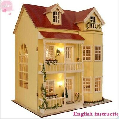 Wooden Handmade Dollhouse Miniature DIY Kit -Large Villa & Furniture/Accessories