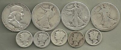 $2.50 Face Value Mixed CULLS - 90% Silver - US Coin Lot - 9 Coins #3418