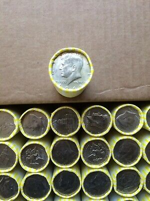 One Unsearched Bank Sealed Half Dollar Roll - With A 1966 40% Silver Half On End