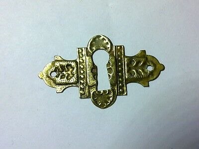 escutcheon, key hole, for box, stamped brass, antique (MT1)