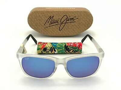 0407b6313d3 Maui Jim NEW Tail Slide Polarized Sunglasses Frosted Blue Hawaii 740-05CM