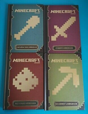 Minecraft book bundle: Beginner's, Combat, Redstone & Construction handbook set.