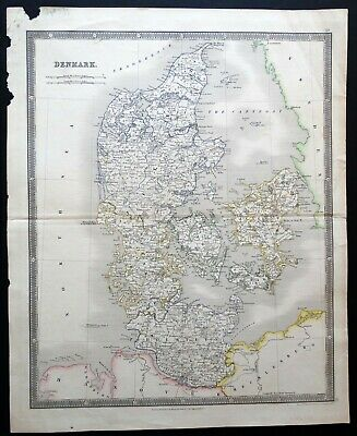 1834 Denmark Map by Henry Teesdale - Plated Engraved and Hand-Colored Outline