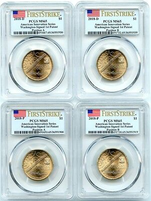 2018-PD Innovation Unc Dollars 4-Coin Set, Pos's A-B, PCGS MS-65, First Strike!
