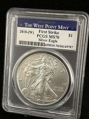 2018-W American Silver Eagle Pcgs Ms70 The West Point Mint First Strike Label