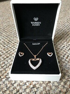 Warren James Rose Gold Heart earrings And necklace