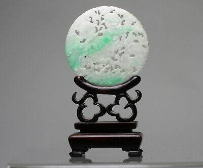 Antique Chinese Late Qing C1900 Carved Jade Jadeite Bi Disc Pendant & Wood Stand