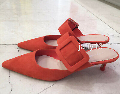 a1e19ab1344 Zara New Leather Heeled Mules With Maxi Buckle Detail Shoe Orange 35-42  1234
