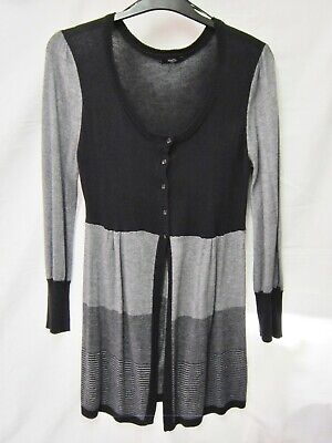 M&CO UK 14 Black Grey Fine Knit Stylish, Soft Long Cardigan, 10% Angora VGC