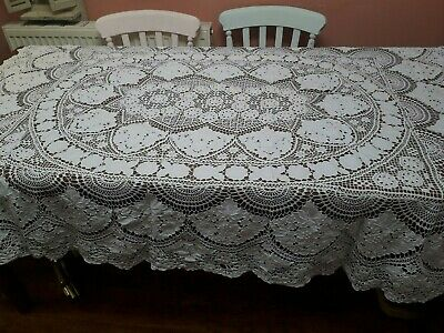 Vintage Tablecloth Crochet Hand Embroidery Large White Cotton Easter?shabby Chic