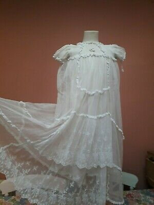 VINTAGE 1930s BABY DOLL DRESS TULLE LACE NET EMBROIDERY