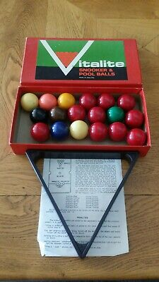 Vintage Vitalite Snooker Balls BOXED VGC Old complete with Triangle and Rules