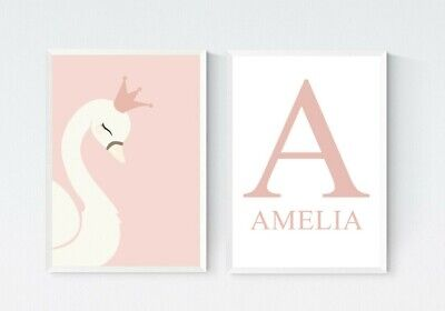 2 Personalised Princess Swan Nursery Prints Girls Room Wall Art Picture Decor