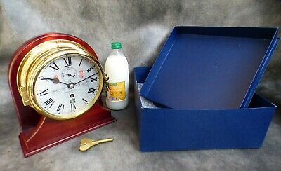 A Superb Sewills Of Liverpool Mounted Ships Clock With Box & Key * Serviced *