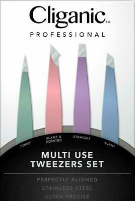 4-Piece Professional Tweezers Set with Case   Stainless Steel   Best Precision f