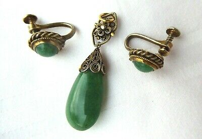 Antique/vtg Chinese Gilt Silver Green Jade Pendant And Stud Earrings
