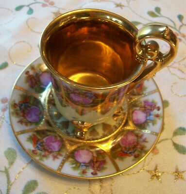 Gold Hand Painted Fragonard Love Story Bavaria Cup & Saucer Courting Couples