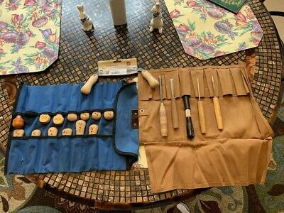 Vintage Flexcut, German and English carving tools and two pouches