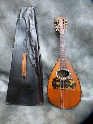 A NICE OLD STRIDENTE 8 STRING MANDOLIN VIA ANTONIO no22 NAPOLI WITH CASE c1900