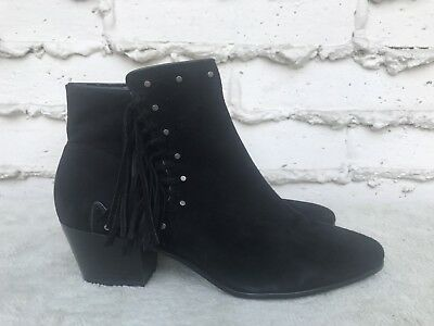 13024e385fac NEW Sam Edelman Rudie US 9.5 Black Fringe Suede Booties Ankle Boot Boho  Festival