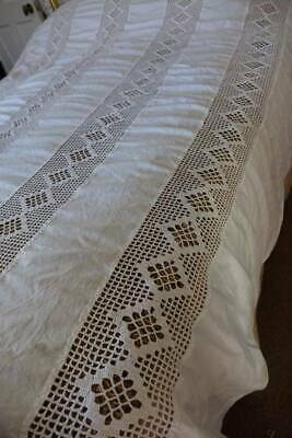 "Huge antique white Irish linen bedspread - crochet lace inserts 94"" x 100"""