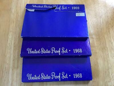 3 - 1968,1969 40% Silver US Mint Proof Sets OGP