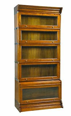 Dark Brown Mindi Wood Stack able Barrister Bookcase 5 Sections - Real Wood