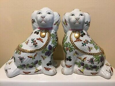 Pair of Staffordshire Dogs With Hand Painted Accents