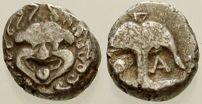 021. Greek Silver Coin. THRACE. AR Drachm. Gorgon / Anchor. aVF