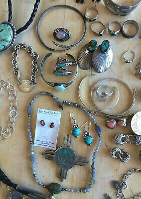 Vintage sterling silver jewelry lot wear sell scrap resale