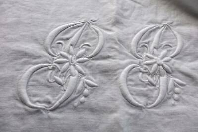 "Antique large white Irish linen sheet -  monogram ""P.P"" & embroidery decoration"