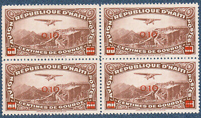 HAITI 1944  60 C Airmail Surcharged (A942) Bl'k of 4 Variety in Overp't MNH
