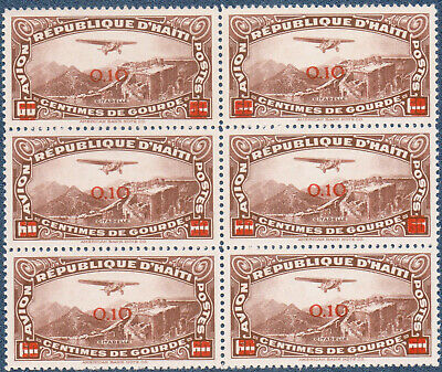 HAITI 1944  60 C Airmail Surcharged (A943) Bl'k of 6 Variety in Overp't MNH
